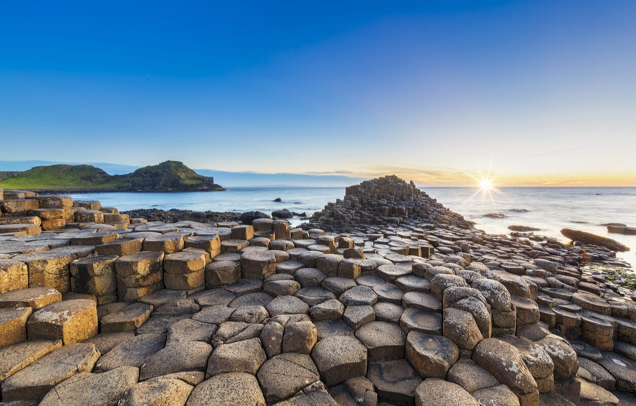 Sunset over Giants Causeway, Northern Ireland