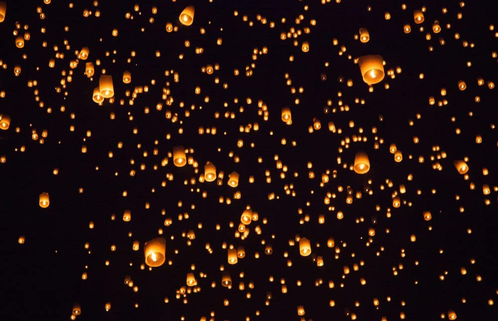 Flying lantern at Loy Krathong in Thailand