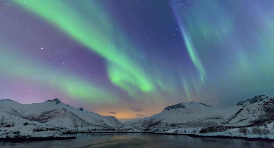 Northern Lights over the Lofoten Islands in Norway