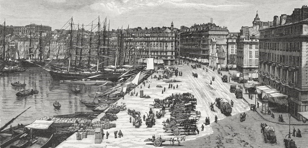 the-port-of-marseille-france-wood-engraving-published-in1897-illustration-id969542618